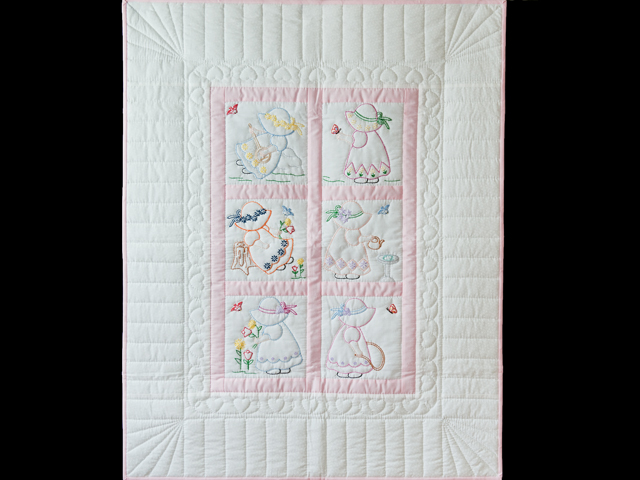 Soft Pink and White Embroidered Sunbonnet Sue Crib Quilt Photo 1