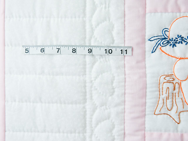 Soft Pink and White Embroidered Sunbonnet Sue Crib Quilt Photo 5