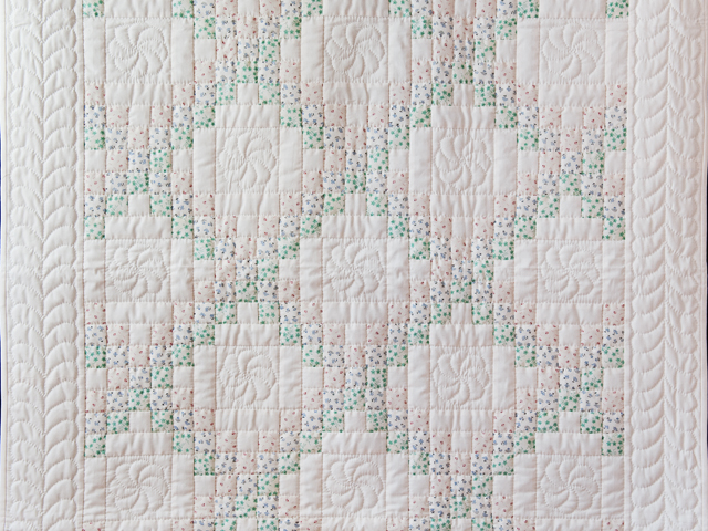 Tiny Prints and Natural Irish Chain Quilt Photo 2
