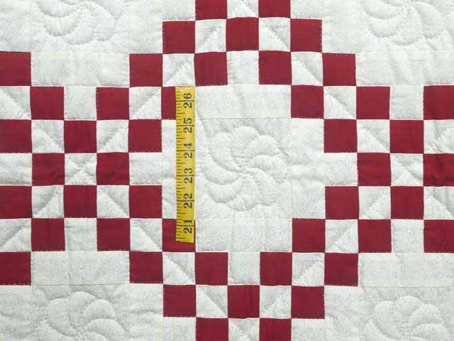 Red and White Irish Chain Quilt Photo 3