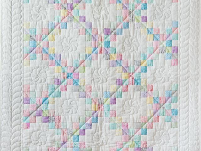 Soft Pastels and White Irish Chain Quilt Photo 2