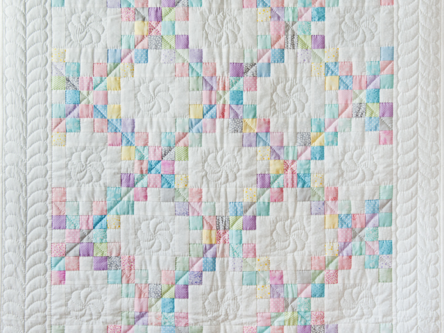 Soft Pastels and White Irish Chain Quilt Photo 5