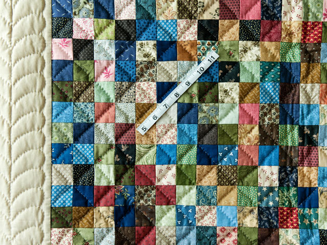 Multi and Tan Hit or Miss Quilt Photo 3