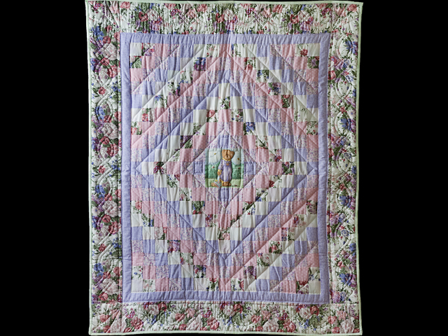 Pink and Lavender Floral Teddy Bear Trip Around The World Crib Quilt Photo 1