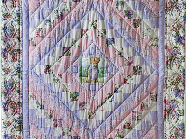 Pink and Lavender Floral Teddy Bear Trip Around The World Crib Quilt Photo 2