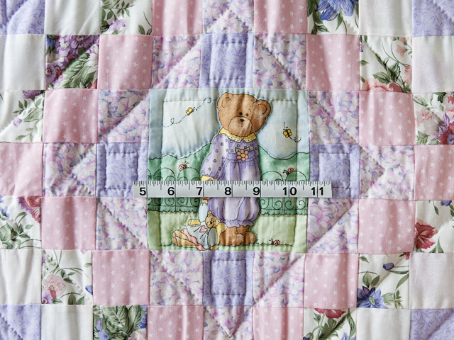 Pink and Lavender Floral Teddy Bear Trip Around The World Crib Quilt Photo 3