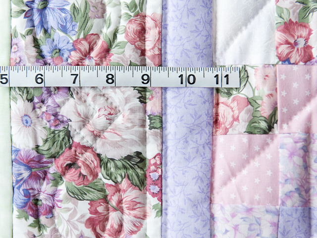 Pink and Lavender Floral Teddy Bear Trip Around The World Crib Quilt Photo 4
