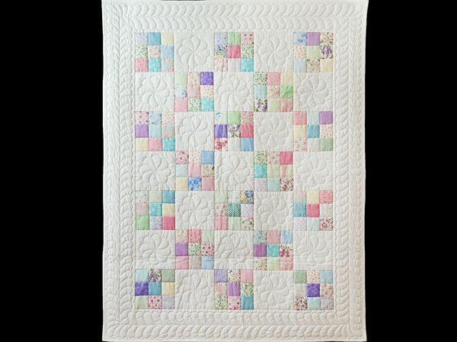 Pastel and White Nine Patch Crib Quilt Photo 2