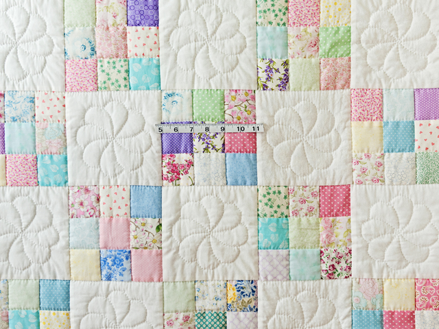 Pastel and White Nine Patch Crib Quilt Photo 3