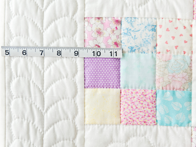 Pastel and White Nine Patch Crib Quilt Photo 4