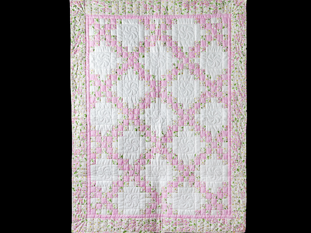 Pink and Cream Dogwood Blossom Irish Chain Quilt Photo 1