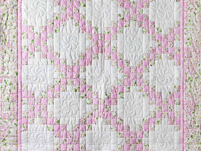 Pink and Cream Dogwood Blossom Irish Chain Quilt Photo 2