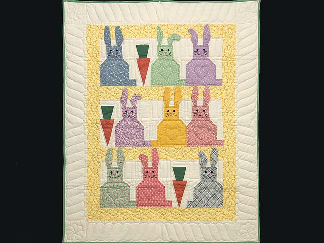 Yellow and Multicolor Floppy Eared Bunnies Crib Quilt Photo 1