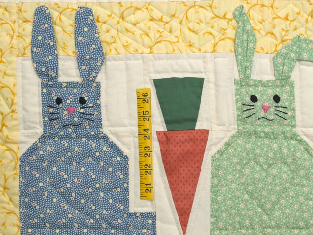 Yellow and Multicolor Floppy Eared Bunnies Crib Quilt Photo 3