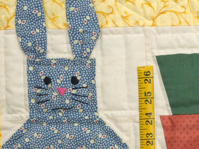 Yellow and Multicolor Floppy Eared Bunnies Crib Quilt Photo 4