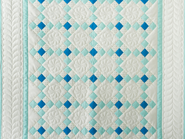 Aqua and Natural Nine Patch Quilt Photo 2