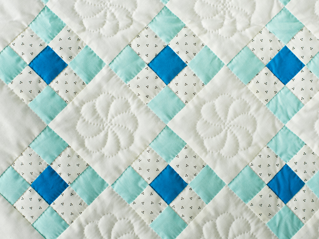 Aqua and Natural Nine Patch Quilt Photo 3