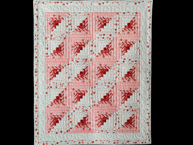 Pink, Red and Natural Log Cabin Quilt Photo 1
