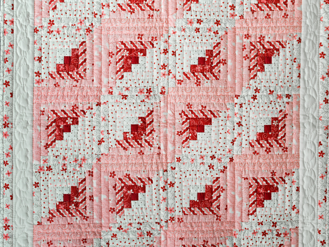 Pink, Red and Natural Log Cabin Quilt Photo 2