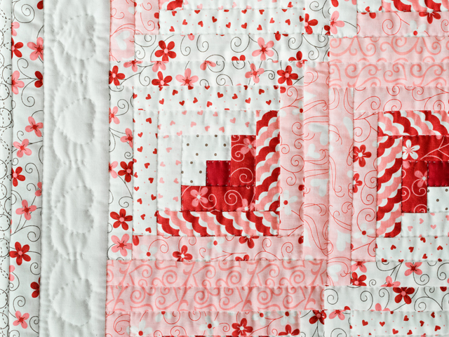 Pink, Red and Natural Log Cabin Quilt Photo 3