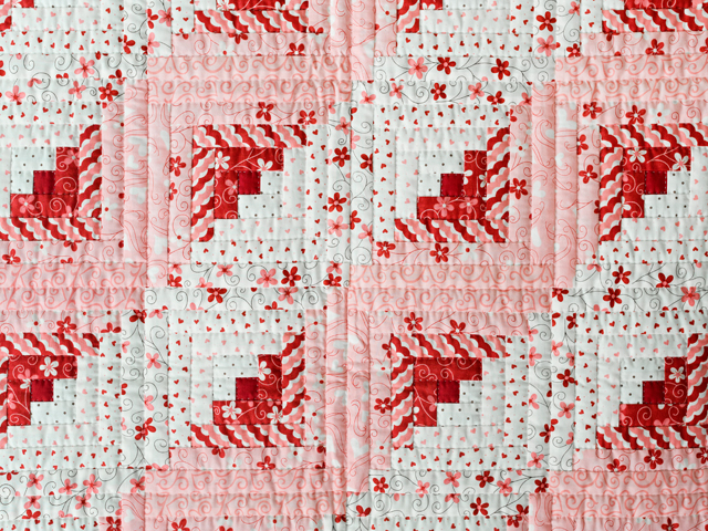 Pink, Red and Natural Log Cabin Quilt Photo 5