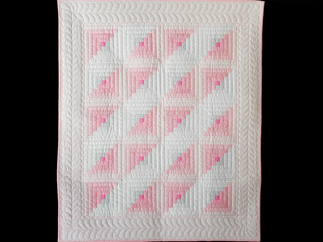 Soft Princess Pink and Sparkly Gray Log Cabin Quilt Photo 1