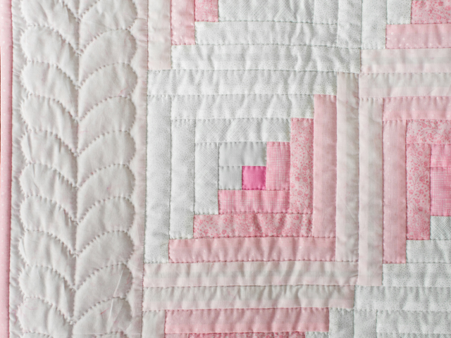 Soft Princess Pink and Sparkly Gray Log Cabin Quilt Photo 3