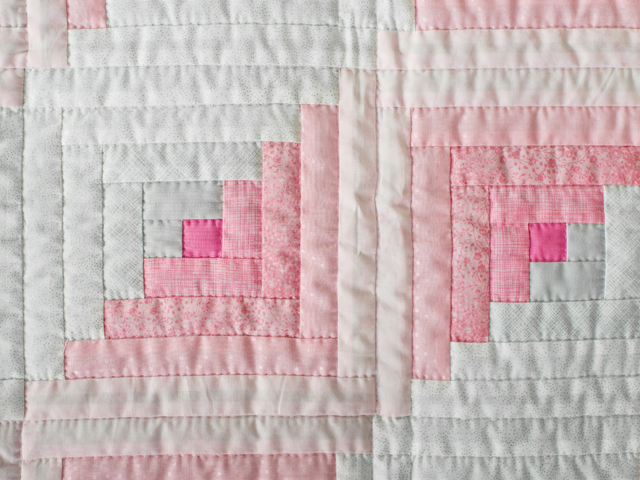 Soft Princess Pink and Sparkly Gray Log Cabin Quilt Photo 4