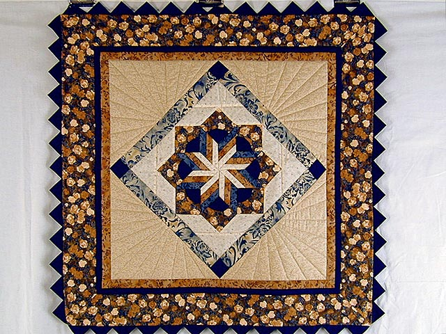 Navy and Brown Star Bloom Wall Hanging Photo 1
