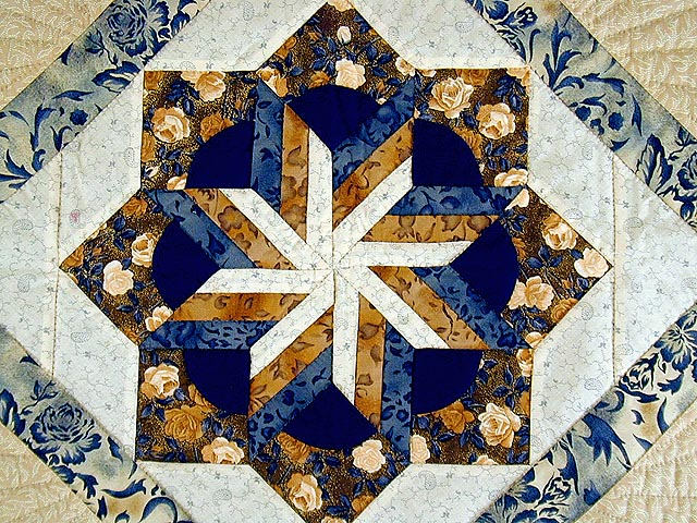 Navy and Brown Star Bloom Wall Hanging Photo 3