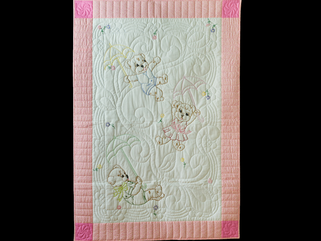 Pink and White Hand Embroidered Teddy Bears Crib Quilt Photo 1