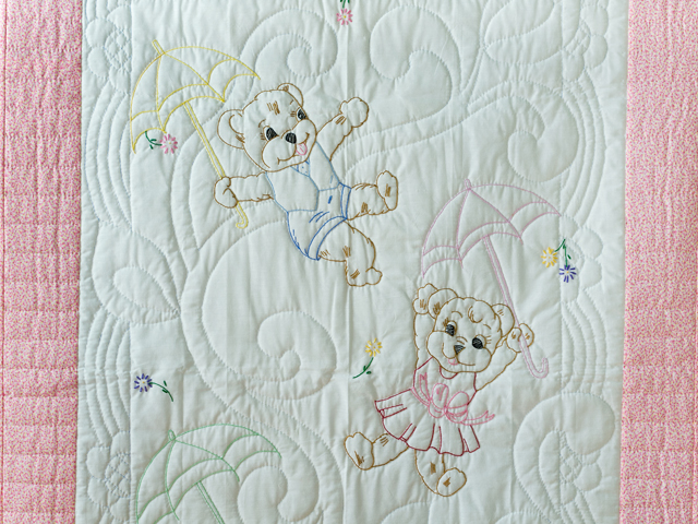 Pink and White Hand Embroidered Teddy Bears Crib Quilt Photo 2