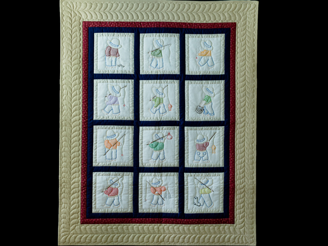 Fishing Boy Hand Embroidered Crib Quilt Photo 1