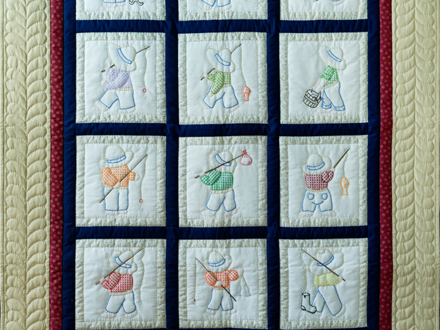 Fishing Boy Hand Embroidered Crib Quilt Photo 2
