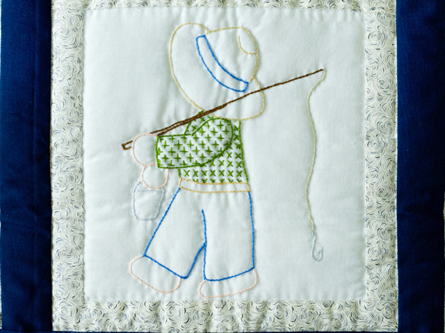 Fishing Boy Hand Embroidered Crib Quilt Photo 4