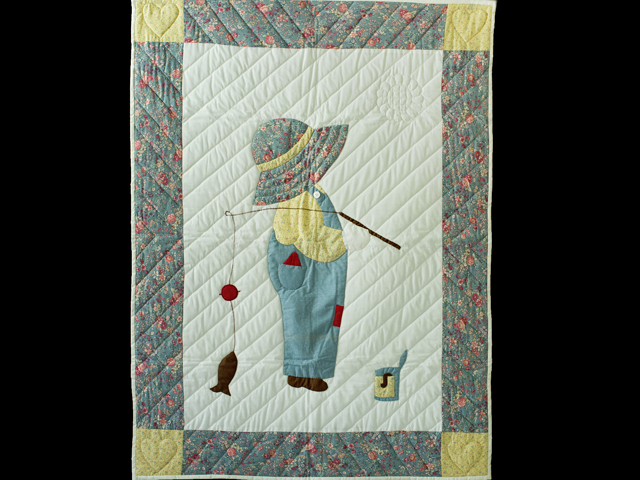 Fishing Boy Appliqued Crib Quilt Photo 1