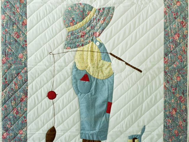 Fishing Boy Appliqued Crib Quilt Photo 2