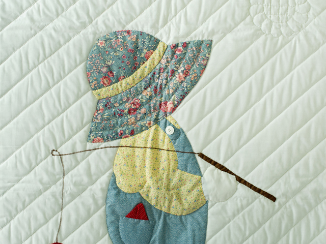 Fishing Boy Appliqued Crib Quilt Photo 5