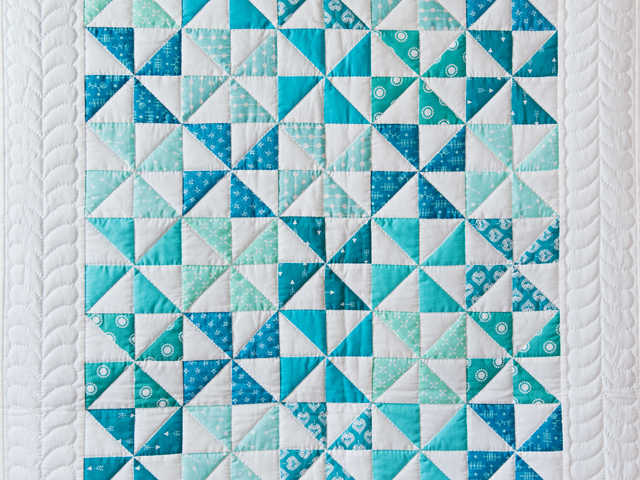 Aqua Blue and Ivory Pinwheel Quilt Photo 2