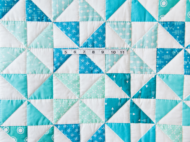 Aqua Blue and Ivory Pinwheel Quilt Photo 3