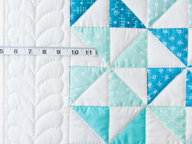 Aqua Blue and Ivory Pinwheel Quilt Photo 5