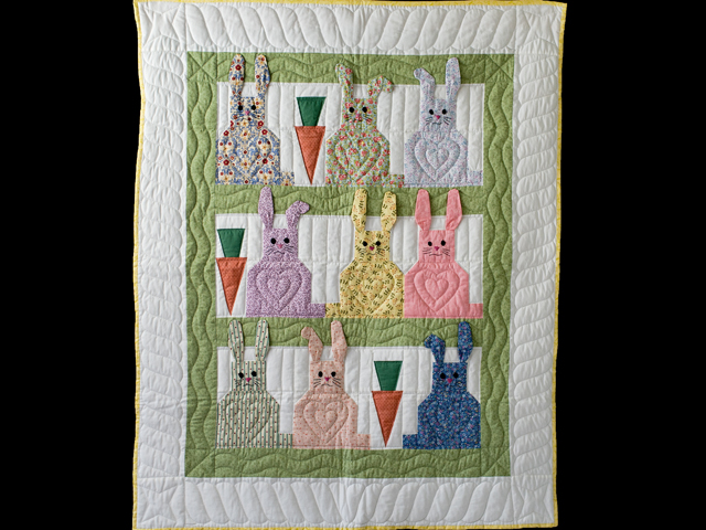 Floppy Eared Bunnies Crib Quilt Photo 1