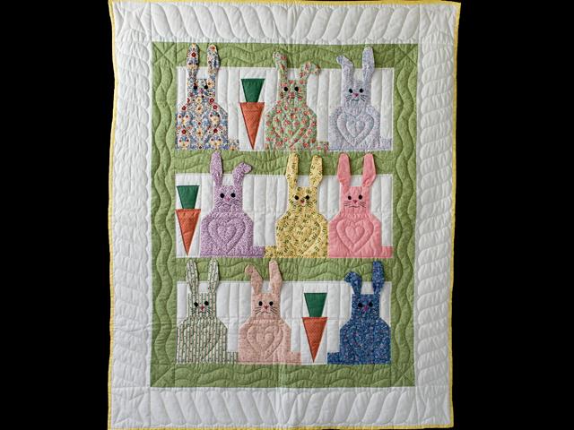 Floppy Eared Bunnies Crib Quilt Photo 1