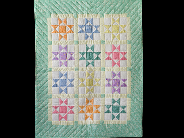 Pastel and Cream Ohio Stars Crib Quilt Photo 1
