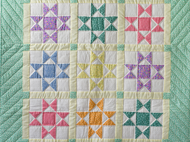 Pastel and Cream Ohio Stars Crib Quilt Photo 2
