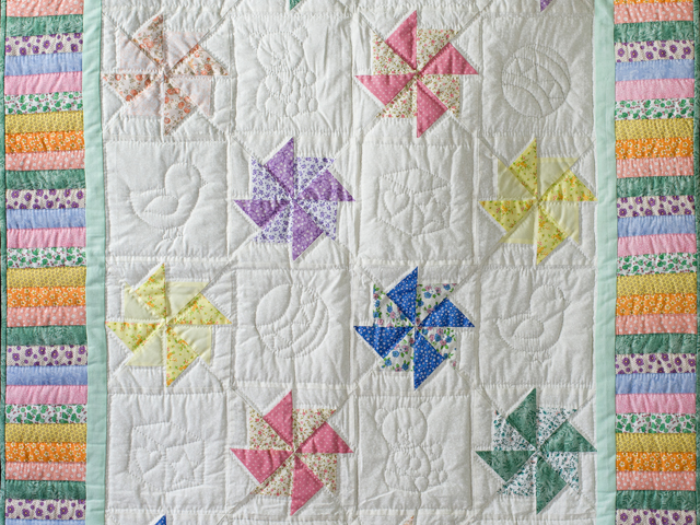 Pastel and Cream Pinwheels Crib Quilt Photo 2