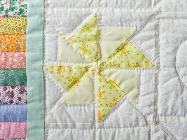 Pastel and Cream Pinwheels Crib Quilt Photo 3