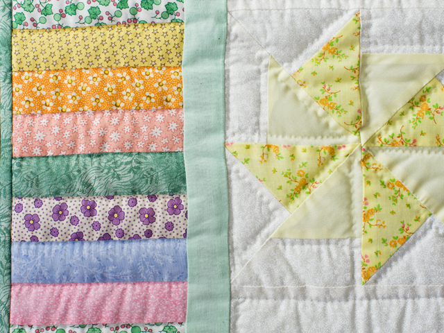 Pastel and Cream Pinwheels Crib Quilt Photo 4