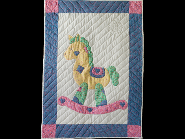 Pastel and White Hand Appliqued Rocking Horse Crib Quilt Photo 1