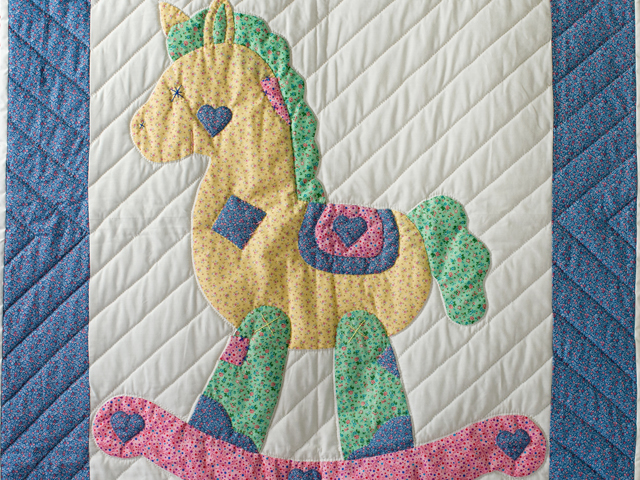 Pastel and White Hand Appliqued Rocking Horse Crib Quilt Photo 2